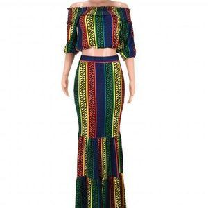 Rainbow two-piece dress set